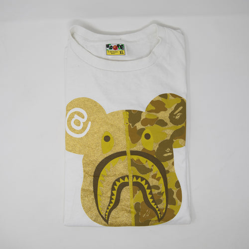Bape x Medicom Toy Bearbrick Shark Gold Tee (XL / USED)