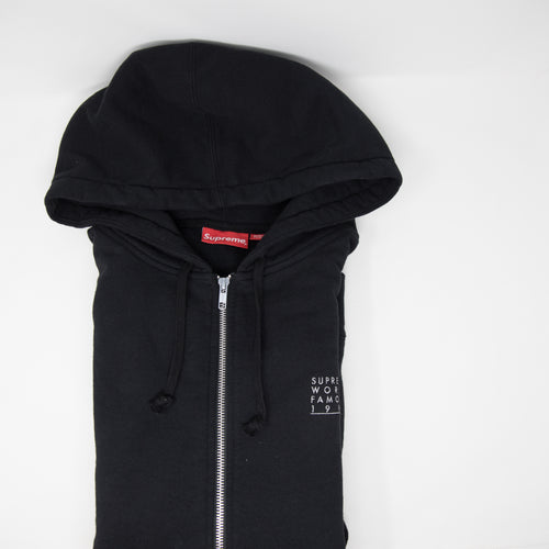 Supreme World Famous Zip Up Hoodie Black (XL / USED)