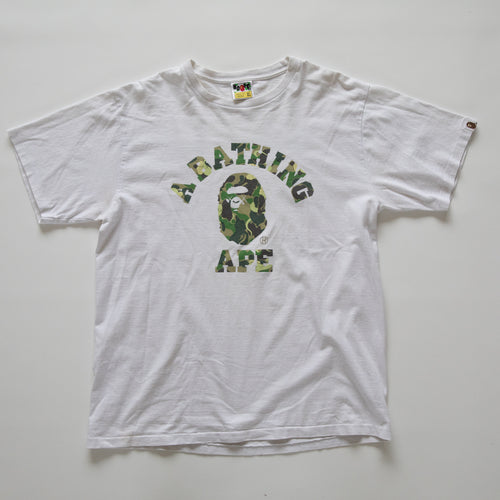 Bape x OriginalFake [KAWS] College Green Camo Tee (XL / USED)