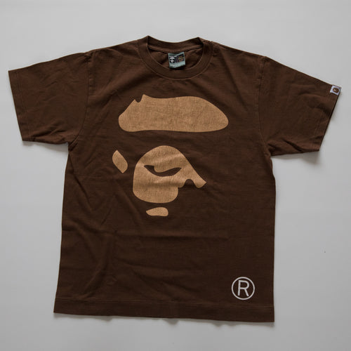 Bape Ape Face Tee Brown (Medium / USED)