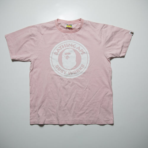 Bape Busy Works Tee Pink (Medium / USED)