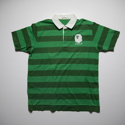 Bape Ape Head Striped Polo Shirt (XL / USED)