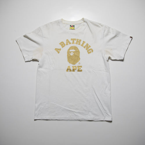 Bape Gold Glitter College Tee (Medium / USED)