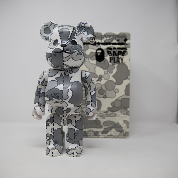 Medicom Toy Bearbrick x Bape Psyche White Camo 400% Figure (USED)