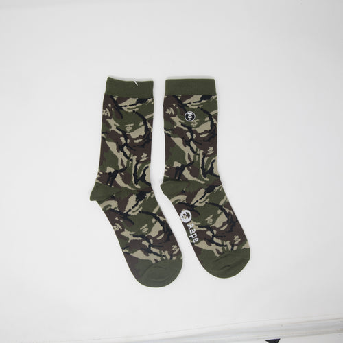 Aape By A Bathing Ape Green Camo Socks (NEW)