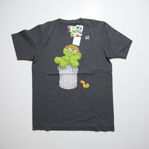 Kaws x Sesame Street Oscar the Grouch Tee Grey (Multiple Sizes / NEW)