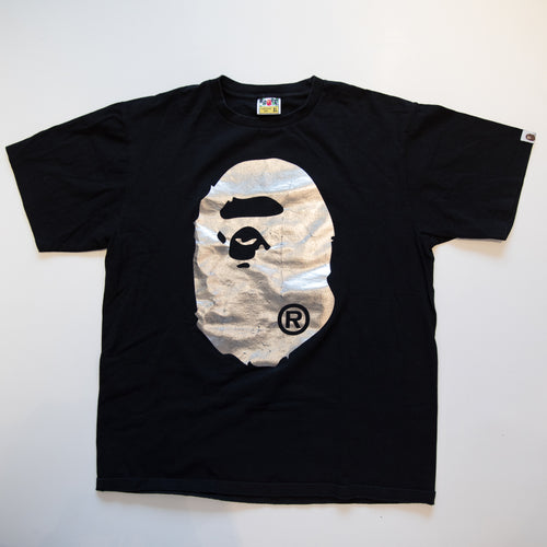 Bape Silver Foil Ape Head Tee (XL / USED)