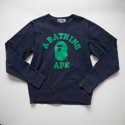 Bape Green College Sweatshirt Navy (Medium / USED)