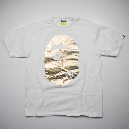 Bape Gold Foil Ape Head Tee (Large / USED)