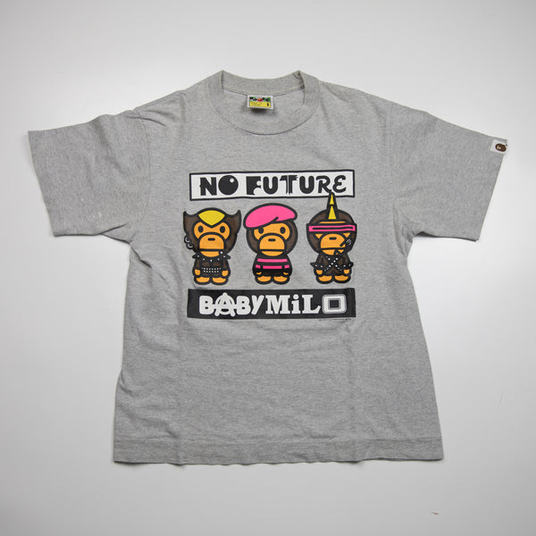 Bape Baby Milo No Future Tee Grey (Small / USED)