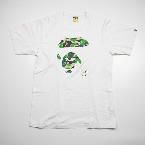 Bape Green Camo Ape Face Tee (Medium / USED)