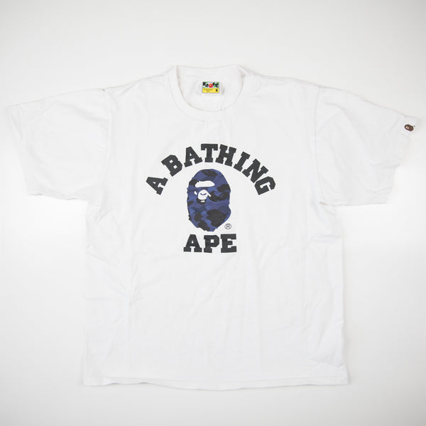 Bape Blue Camo College Tee (Medium / USED)