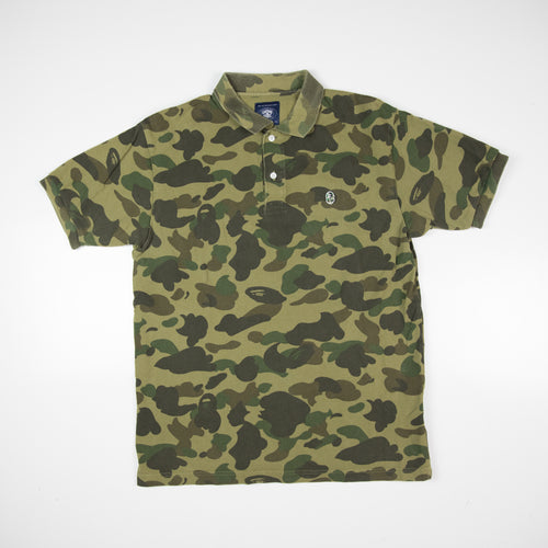 Bape Green Camo Polo Shirt (XL / USED)