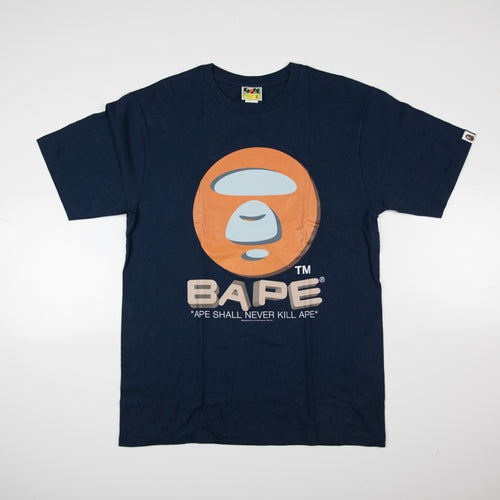 Bape Orange Round Ape Head Tee (XL / USED)