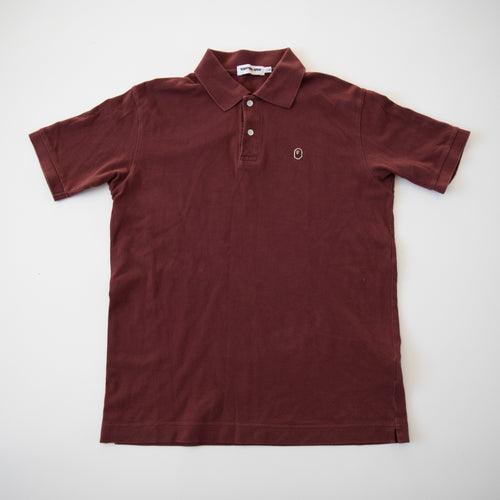 Bape Small Ape Head Polo Shirt Maroon (Large / USED)