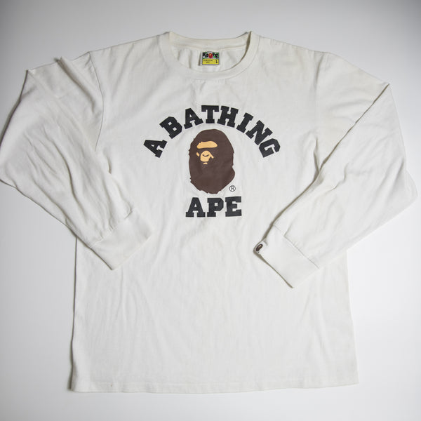 Bape College Long Sleeve Tee (Large / USED)