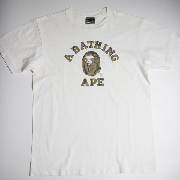 Bape Mad Face Desert Camo College Tee (Large / USED)