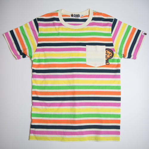 Bape Striped Baby Milo Pocket Tee (Medium / USED)