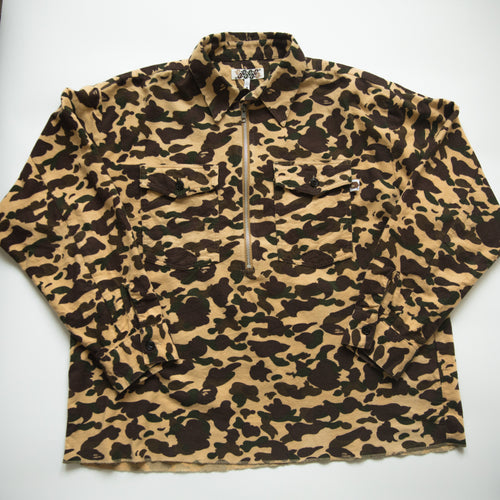 Bape Yellow Camo Fleece Zip Up Shirt (Medium / USED)