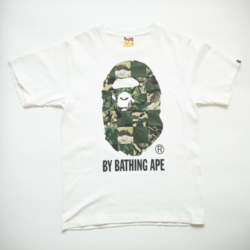 Bape Green Camo Ape Head Tee (Small / USED)