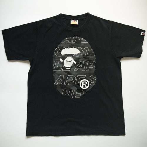 Bape Ape Head Black Camo Tee (Medium / USED)