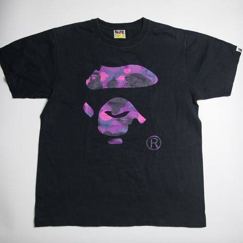 Bape Purple Camo Ape Head Tee (Large / USED)
