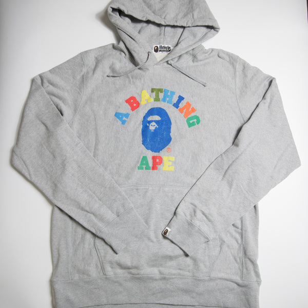 Bape Multicolour College Hoodie Grey (XL / USED)