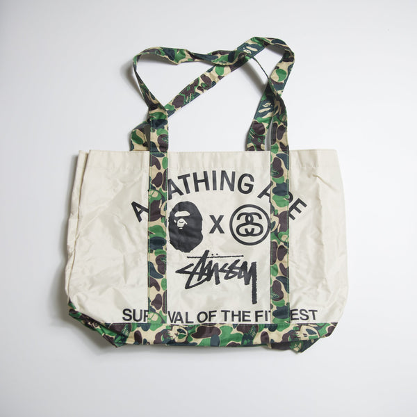 Bape x Stussy 2 Way Green Camo Tote Bag (MINT)
