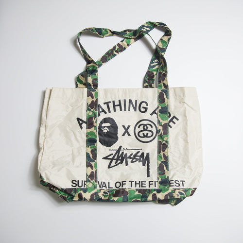 Bape x Stussy Green Camo Tote Bag (MINT)