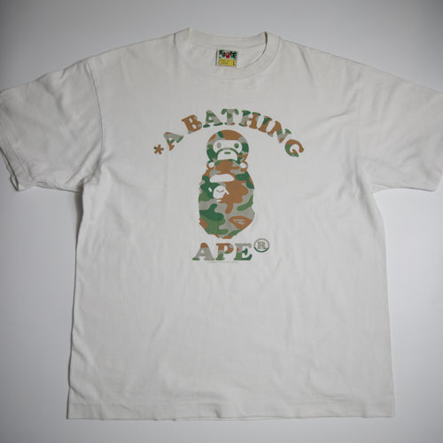 Bape Puzzle Camo Baby Milo On College Tee (Large / USED)