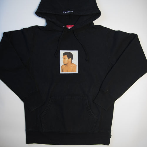 Supreme x Andy Warhol Muhammad Ali Hoodie Black (Medium / USED)