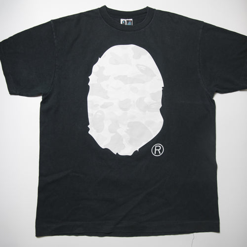 Bape White Camo Ape Head Tee (XL / USED)