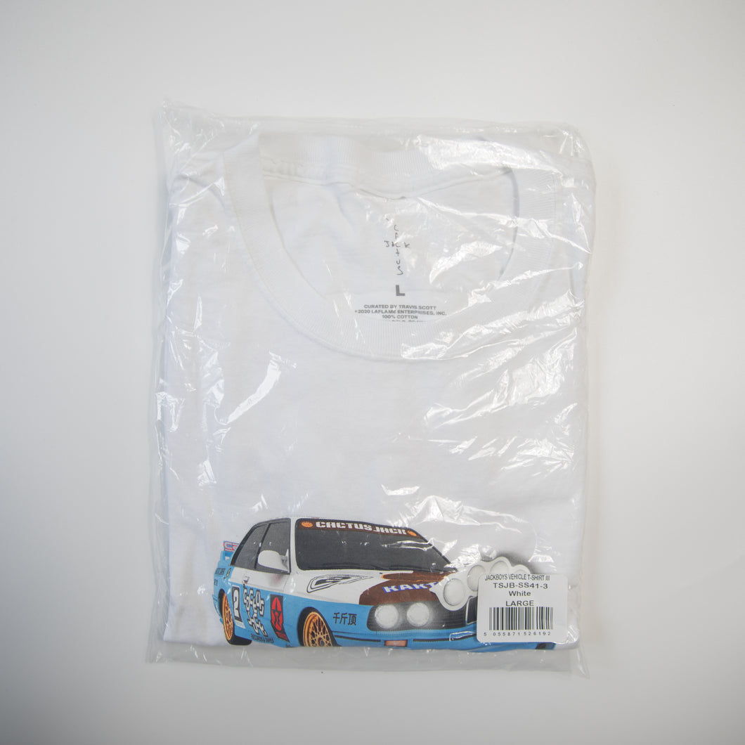 Travis Scott JACKBOYS Vehicle Tee White (Large / MINT)