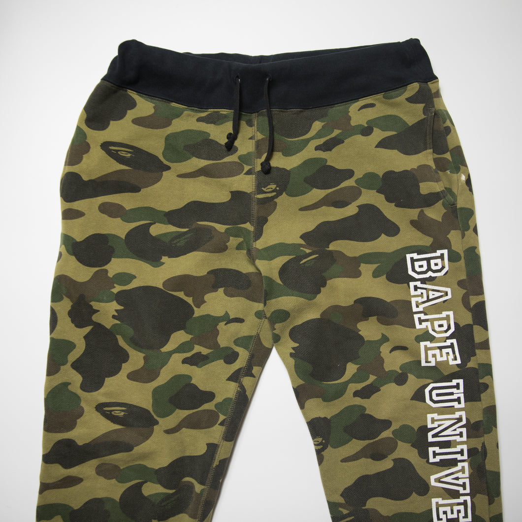Bape University Green Camo Joggers (Medium / USED)