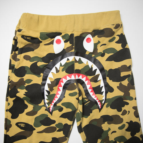 Bape Shark Yellow Camo Joggers (Medium / USED)