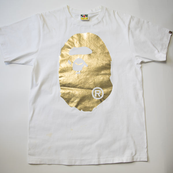 Bape Ape Head Gold Foil Tee (Medium / USED)