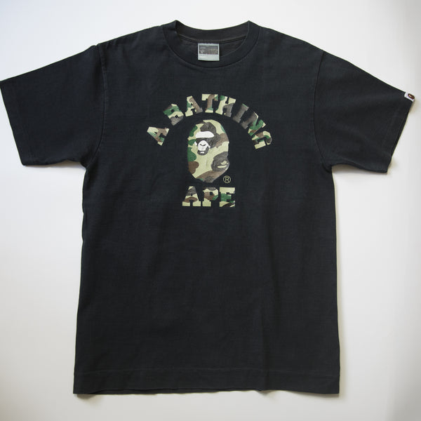 Bape Green Camo College Tee (Medium / USED)