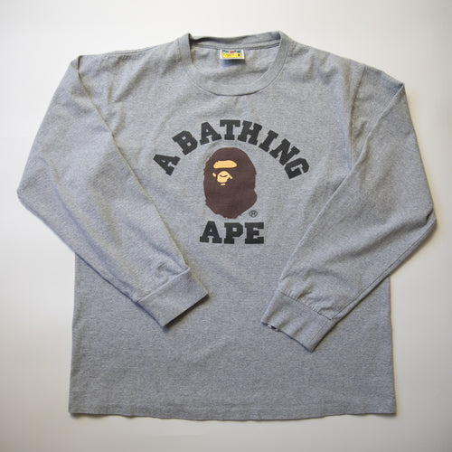 Bape College Long Sleeve Tee (Medium / USED)