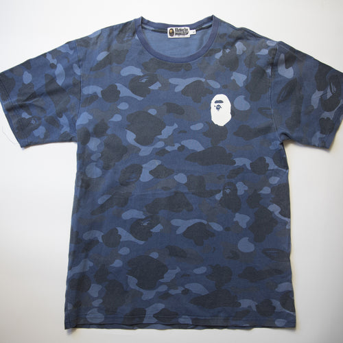 Bape Blue Camo Logo Tee (XL / USED)