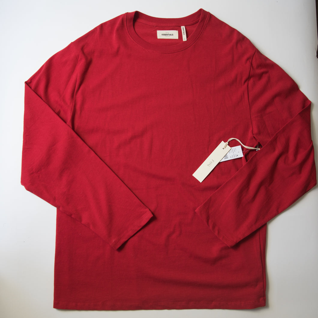 Fear Of God Essentials Graphic Long Sleeve Tee Red (Medium / MINT)