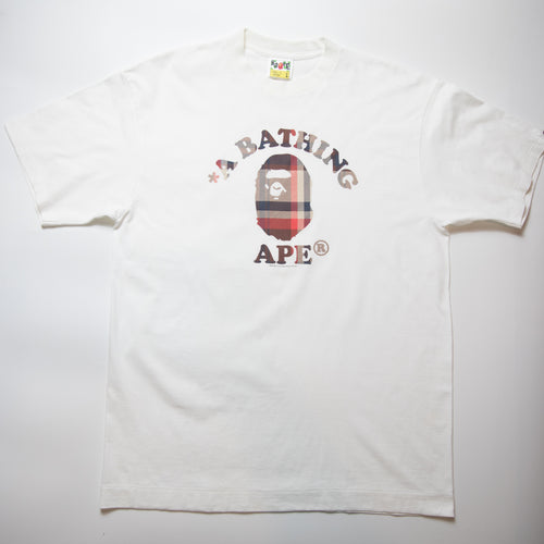 Bape Checkered College Tee (Large / USED)