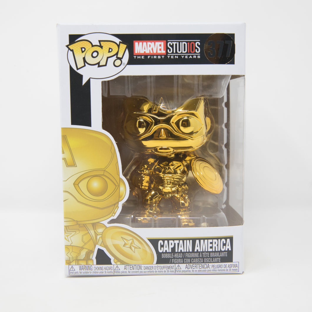 Funko POP! Marvel Studios #377 - Gold Captain America - Vinyl Figure (MINT)