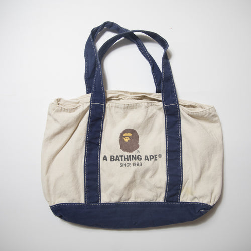 Bape Ape Head Navy / Biege Tote Bag (USED)