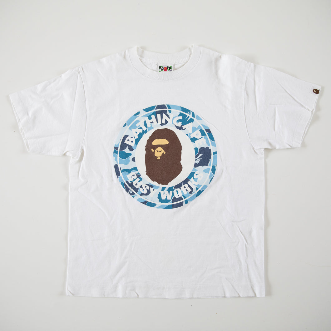 Bape Blue Camo Busy Works Tee (Medium / USED)