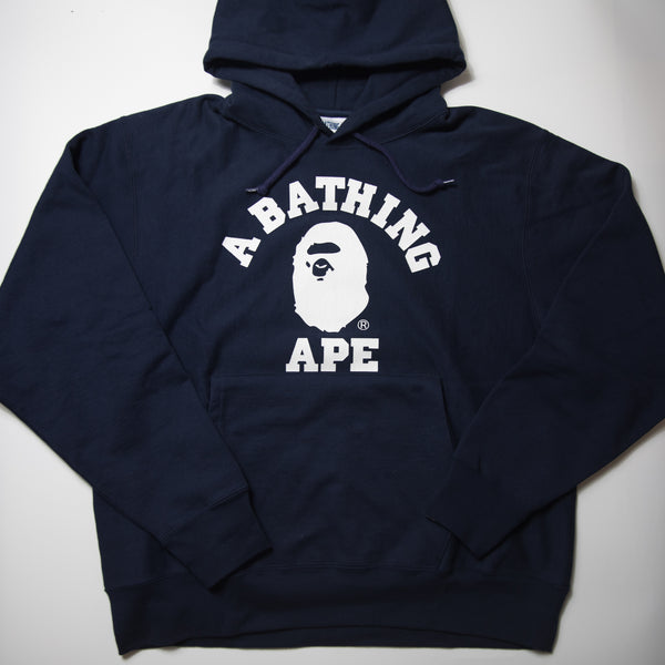 Bape Relaxed Classic College Pullover Hoodie Navy (Large / MINT)
