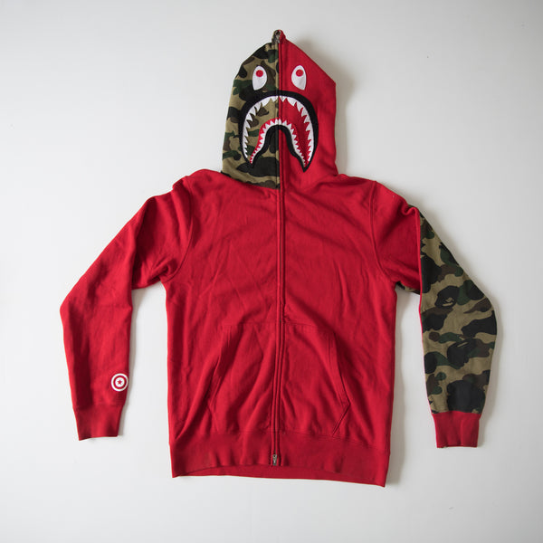 Bape Half Green Camo Velcro Patch Shark Hoodie Red (Medium / USED)