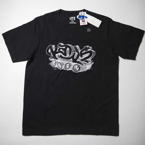 Kaws x Uniqlo Graffiti Tee Black (Large / MINT)