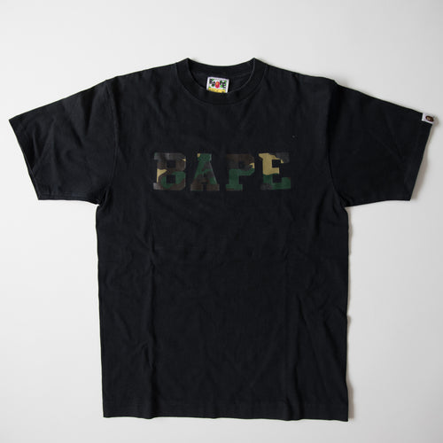 Bape Camo Text Logo Tee (Medium / USED)