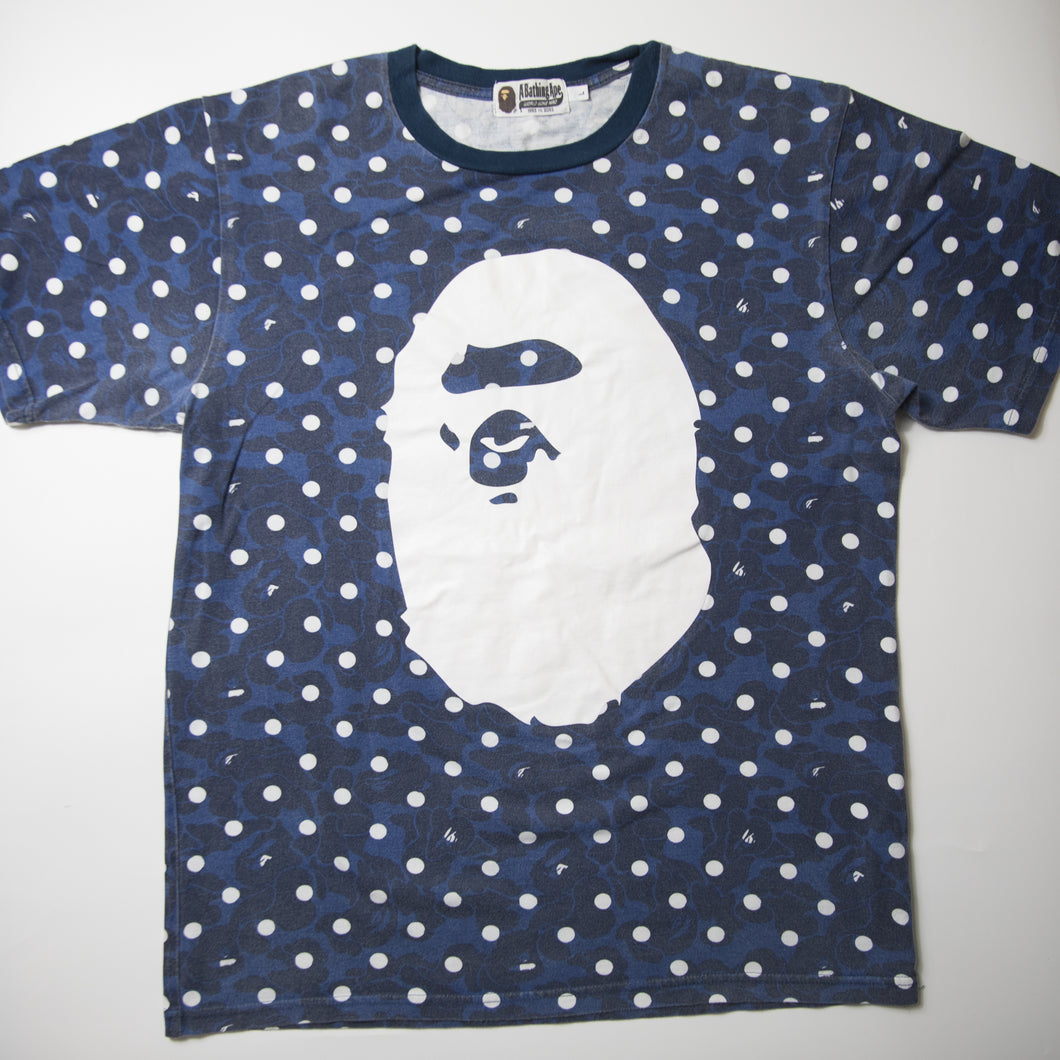 Bape Ape Head Blue Camo Tee (Large / USED)