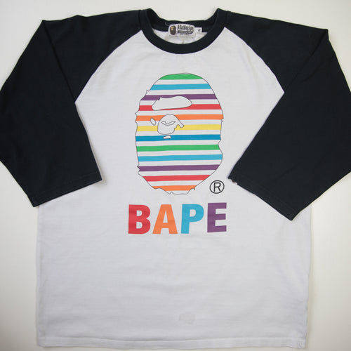 Bape Rainbow Ape Head 3/4 Sleeve Tee (XL / USED)